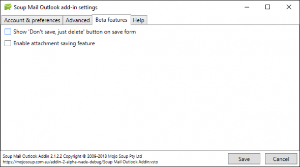 New Soup Mail Outlook add-in settings form - beta features tab